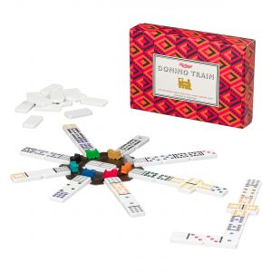 Ridley's Games Domino Train. Picture shows board in fore ground, box in background. White background.