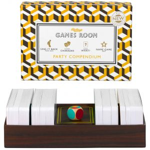 Ridley's Games Party Compendium. Picture shows board in fore ground, box in background. White background.