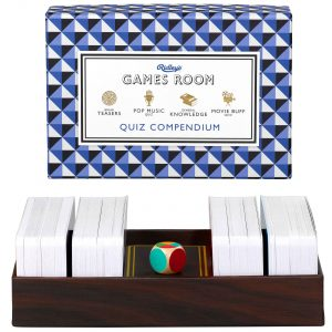 Ridley's Games Quiz Comependium. Picture shows board in fore ground, box in background. White background.