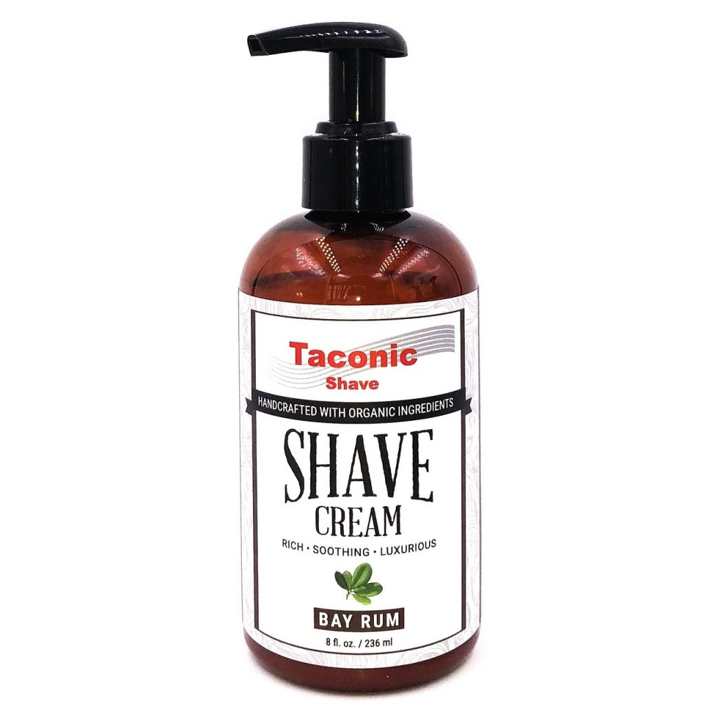 Taconic Shave Cream Bay Pump Bay Rum 8oz on white background.
