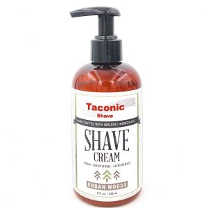 Taconic Shave Cream Pump Urban Woods 8oz on white background.