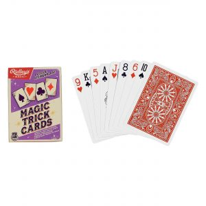 Ridley's Games Trick Cards. Picture shows board in fore ground, box in background. White background.