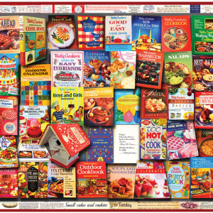 Betty Crocker Cookboooks Puzzle 1000 Piece, picture of box with finished puzzle on front.