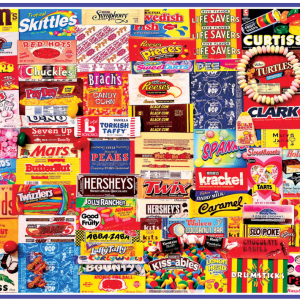 Vintage Candy Wrappers Puzzle 1000 Piece, picture of box with finished puzzle on front.