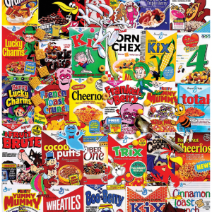 Cereal Boxes Puzzle 1000 Piece, picture of box with finished puzzle on front.