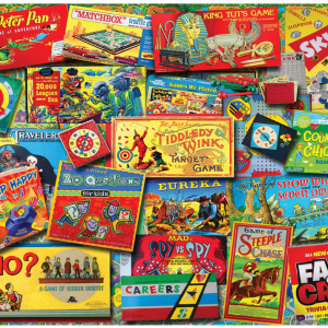 Family Game Night Puzzle 550 Piece. The picture shows many family games from the last 50 years.