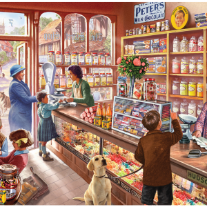 Old Candy Store Puzzle 1000 Piece, picture of box with finished puzzle on front.
