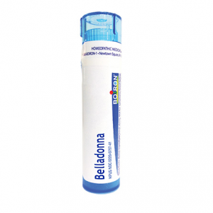 Boiron Belladonna Tube, white background.