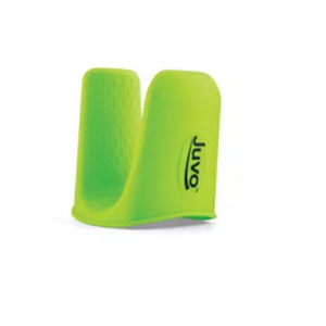 Juvo E-Z Opener, green product with grips for all fingers. on a white background.