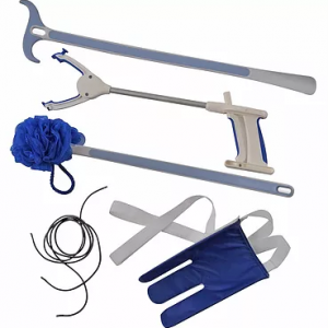"Juvo Surgery Recovery Kit. Top to bottom: Juvo dressing stick/shoehorn, Juvo 20"" grabber, Juvo extended handle bathing sponge, Juvo black elastic shoelaces and a blue Juvo sock aid with white handles. On a white background."