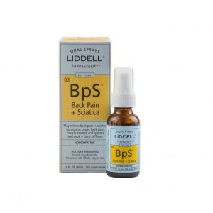 Liddell Oral Spray Back Pain + Sciatica spray bottle and the product box, white background.