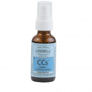 Liddell Oral Spray Canker & Cold Sore Relief spray bottle, white background.