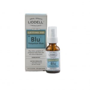 Liddell Oral Spray Postpartum Blues spray bottle and the product box, white background.