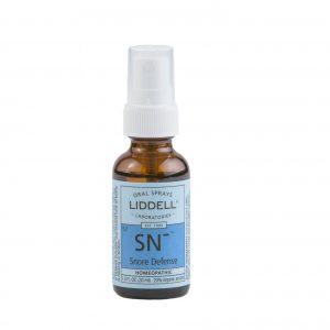 Liddell Oral Spray Snore Defense spray bottle, white background.