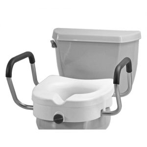 Nova Raised Toilet Seat with Detachable Arms, installed on a standard toilet.