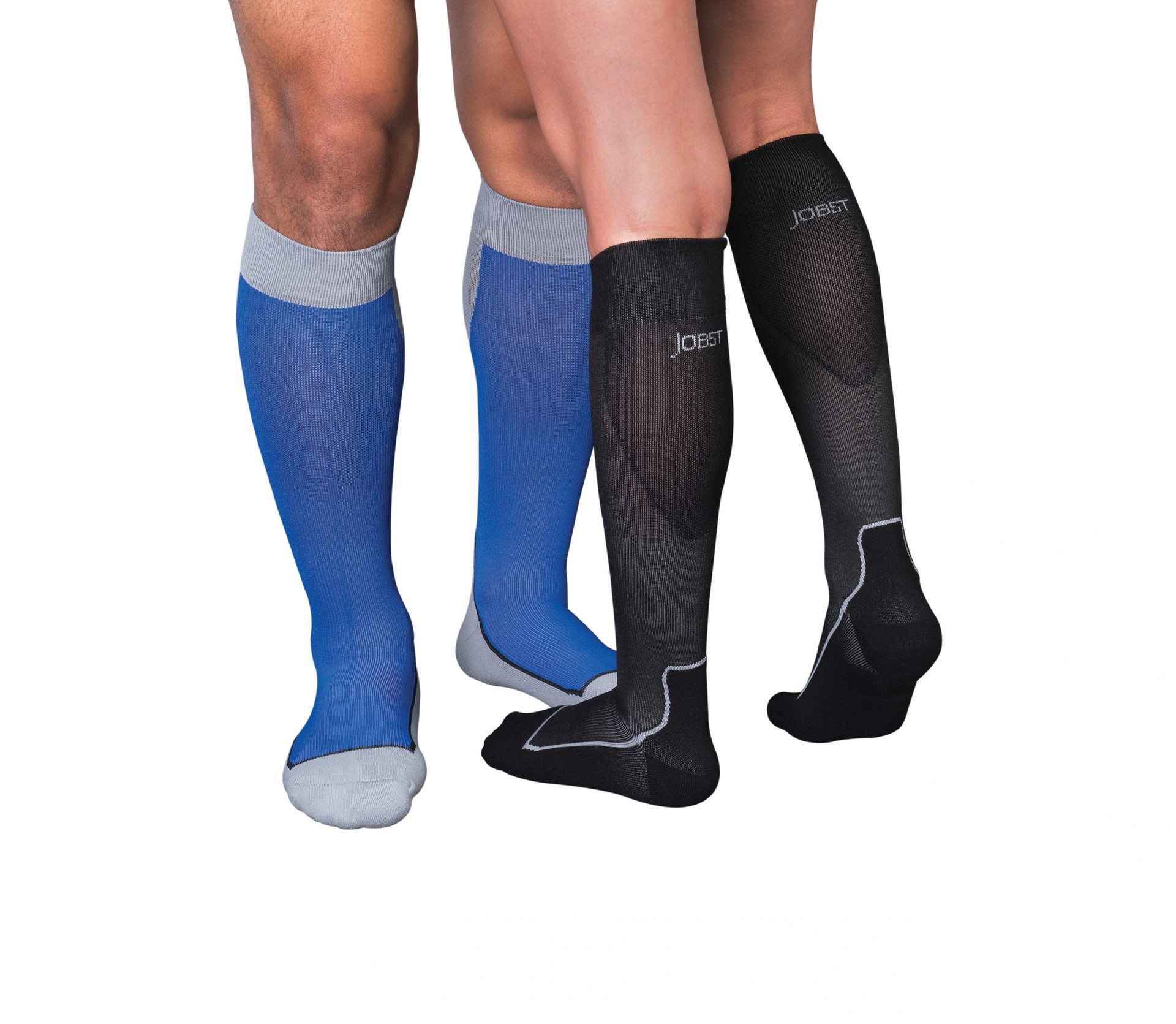 261067474 Two leg models wearing Jobst compression sport socks. The left legs belong  to a male