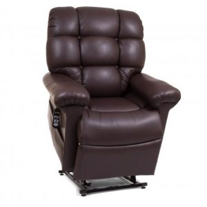 Golden Cloud Twilight Power Lift Recliner in raised position, color is Coffee Bean