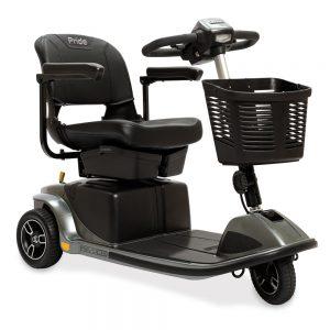 The pride revo 2.0 mobility scooter, 3-wheel model in gray