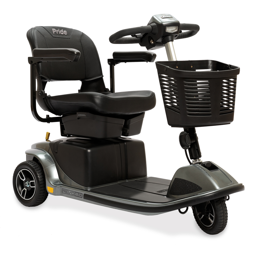 The pride revo 2.0 mobility scooter, 3-wheel model in gray