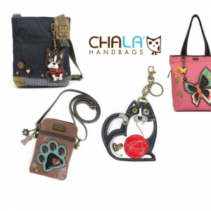 Chala Handbags logo with a terrier purse, paw cell phone purse, fat cat key chain and a butterfly totebag.