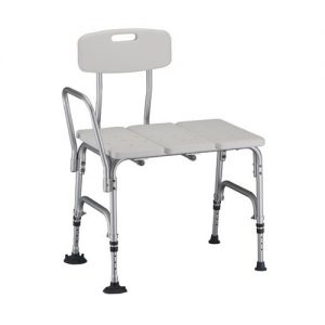 The Nova bariatric transfer bench on a white background. Suction cup legs, the unit hand and the unit back are locked on the right-side position.