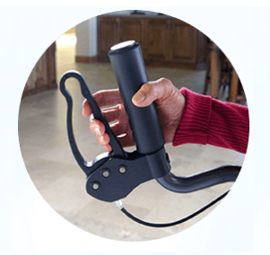 Closeup of the UPWalker Standing Walker handle, it faces upwards, unlike most walkers or rollators. Brake handle is looped.