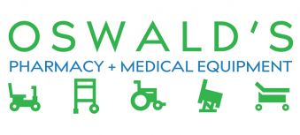 Oswald's Pharmacy and Medical Equipment Logo. Stylized medical icons underneath from left to right: Mobility scooter, walker, wheelchair, power lift recliner, and a hospital bed.