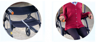 Side by side images of two features. The left image is the UPWalker Standing Walker's canvas seat and back rest. The right is a woman seated in the UPWalker seat with her hands resting on the Sit-to-Stand handles.