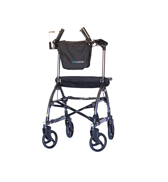 The UPWalker Standing Walker in blue. It has 4 8 inch wheels, a black canvas seat, and a black canvas bag draped over the front.
