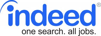 """Blue """"indeed"""" logo, stylized. caption in black says """"one search, all jobs"""""""