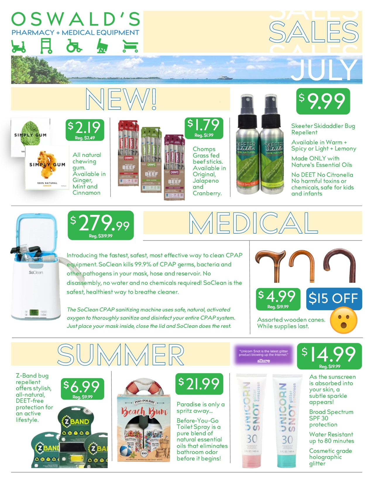 The Oswald's Promotions flyer from July 2018. Focuses on Sidewalk sale deals. Page 1.