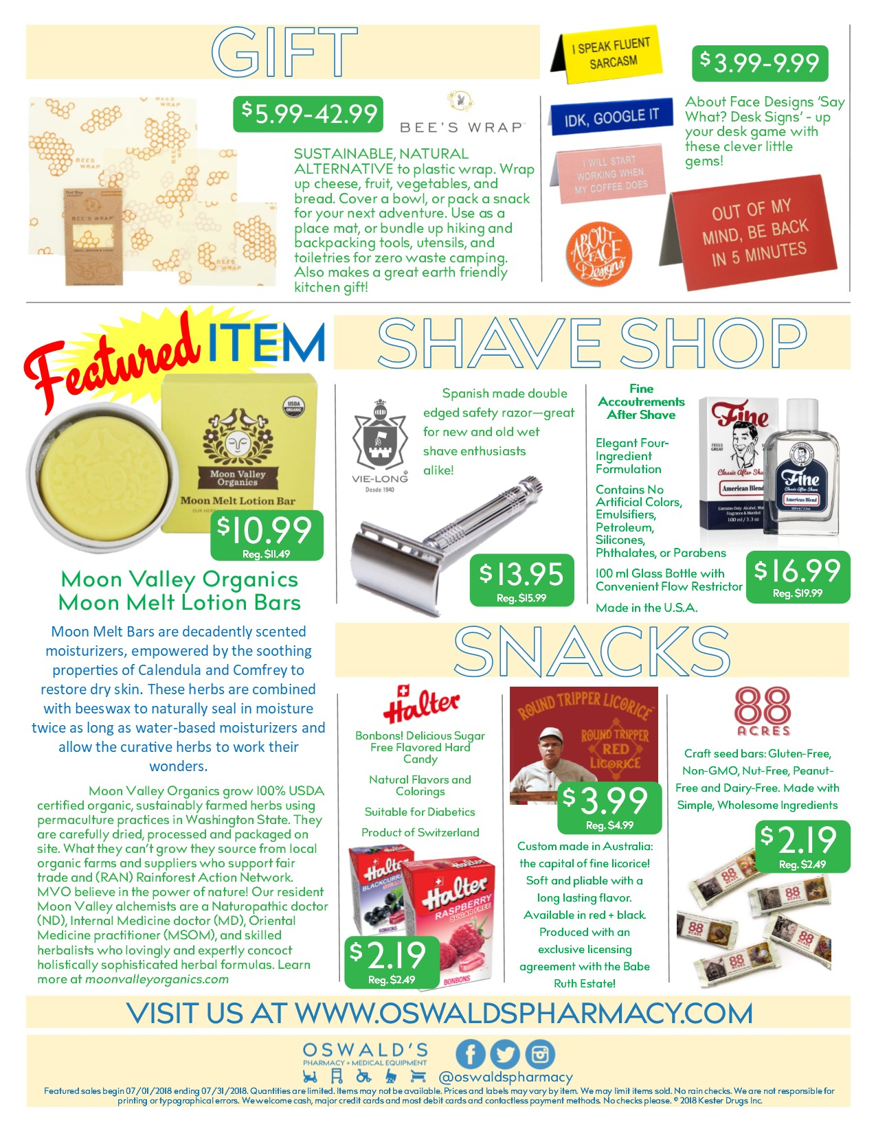 The Oswald's Promotions flyer from July 2018. Focuses on Sidewalk sale deals. Page 2.
