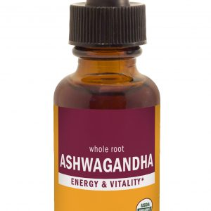 Herb Pharm Ashwagandha Extract vial 1oz. Brown bottle with crimson and gold label. Black Eyedropper top
