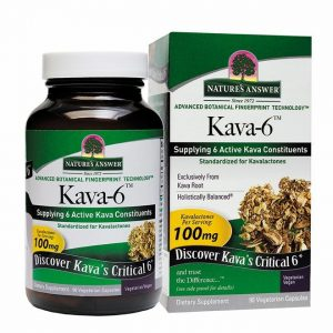 Nature's Answer Kava-6 Veggie Capsules, 90 count. Green and white label container next to a box with the same color scheme and logo.