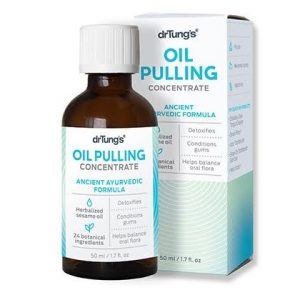 DrTung's Oil Pulling Concentrate. A 1.7 oz. brown bottle with a white label containing blue text sits next to a box with the same color scheme.