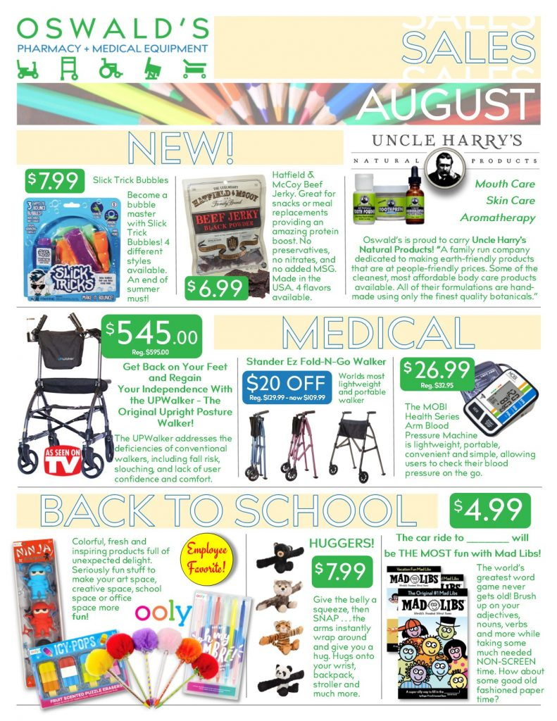 Oswald's Pharmacy Promotions flyer for August 2018. Sales on medical equipment, rentals, toys and more.