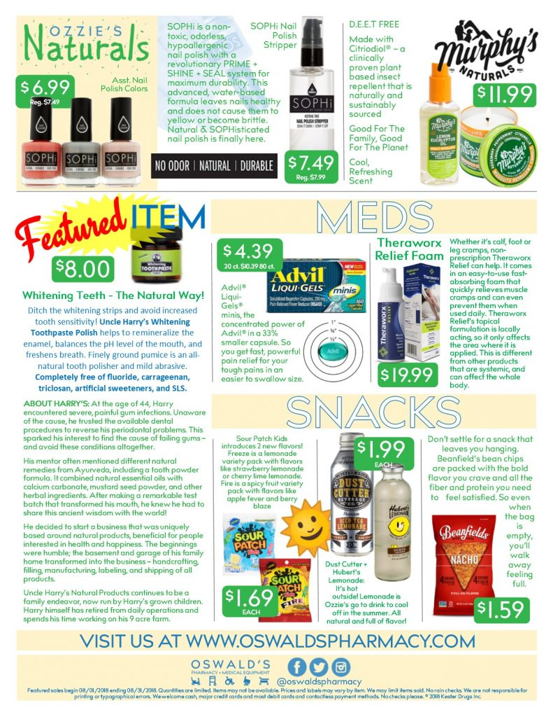 Oswald's Pharmacy Promotions flyer for August 2018. Sales on medical equipment, rentals, toys and more. Page 2.