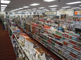 Ozzie's Natural and Organic products default image. Overhead shot of Oswald's Pharmacy's huge selection of products.