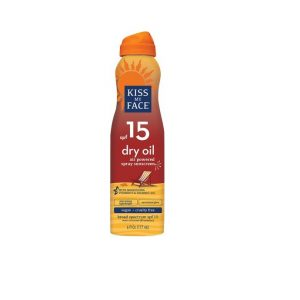 Kiss My Face Dry Oil Sunscreen SPF 15 6oz. spray bottle. Tan, orange and yellow coloring.