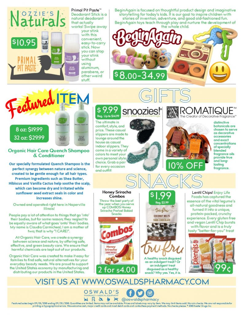 Oswald's Pharmacy Promotions flyer for September 2018. Sales on medical equipment, rentals, toys and more.