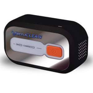 "VirtuCLEAN CPAP Sanitizer product image. The VirtuCLEAN device standing alone. Black casing, silver face, red ""on"" button and the blue VirtuCLEAN logo."