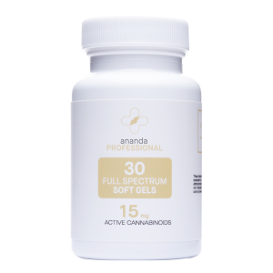 Ananda CBD Therapy 30 softgels 15mg strength. White bottle with tan accents.
