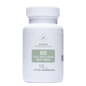 Ananda CBD Therapy 60 softgels 15mg strength. White bottle with silver accents.