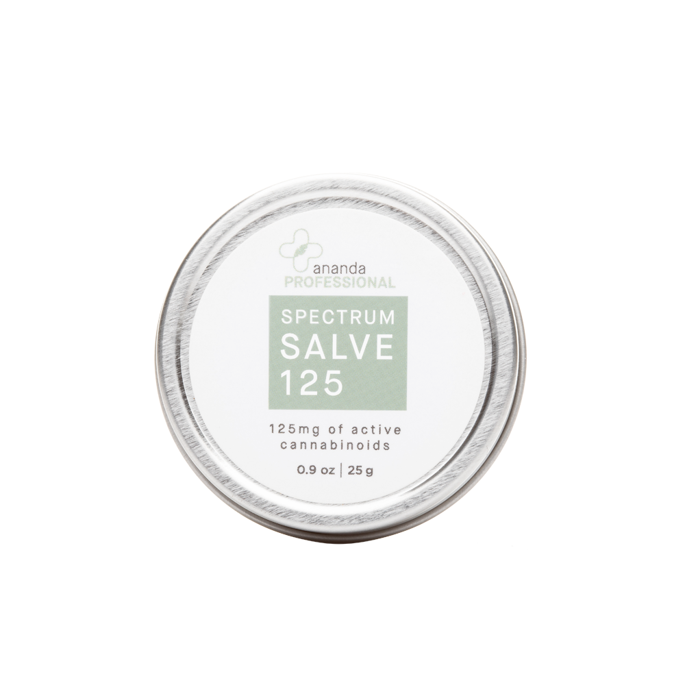 Ananda CBD Therapy Spectrum Salve 125 125mg strength 0.9oz. Silver tin with grey accents.