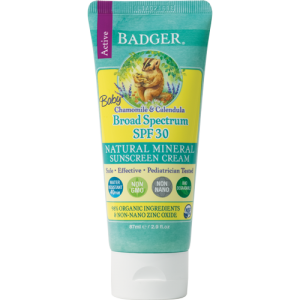 Badger Baby Sunscreen SPF 30 2.9oz. A green tube with yellow accents and the Badger Logo.
