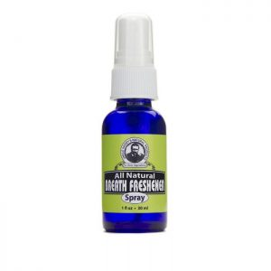 Uncle Harry's Breath Freshener Spray product image. 1oz blue bottle with white spray top. Green, black and white label.