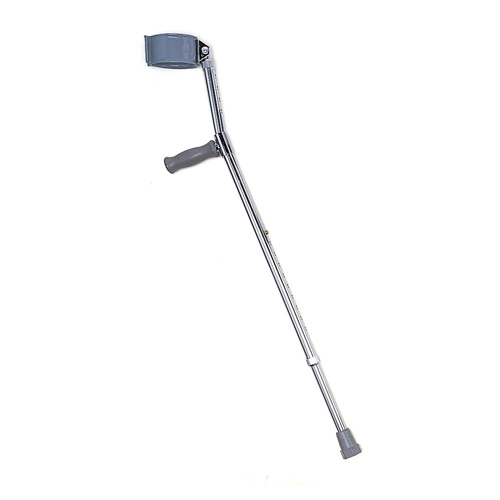 Nova Adult Forearm Crutch product image. A silver crutch shaft with a grey forearm brace and a grey handle.