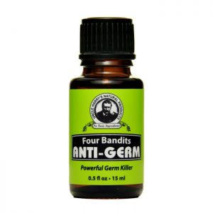 Uncle Harry's Four Bandits Anti-Germ product image. Brown bottle with green, black and white label. .5oz.