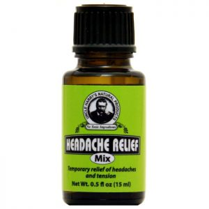 Uncle Harry's Headache Relief Mix product image. .5oz brown jar with a green, black and white label.