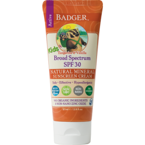 Badger Kids Sunscreen SPF 30 2.9oz. Orange tube with vanilla accents and the Badger logo.